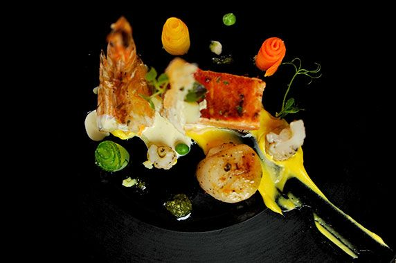 Sea Food Tiger Prawns, Scallops & Pan Fried Salmon with Walnut Puree & Saffron Cream